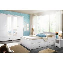 Home affaire Schlafzimmer-Set Hugo, (Set, 4-tlg), Bett 180 cm, 5-trg Kleiderschrank und 2 Nachttische weiß