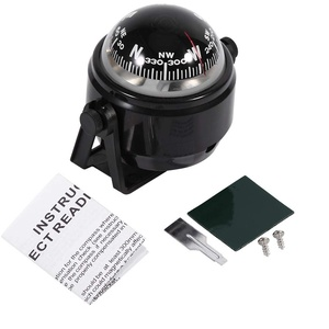 VGEBY1 Kompass Boot, Einstellbare Navigation Nachtsicht Kugelkompass Bootskompass mit Halterung für Boot Auto Motorrad LKW(Schwarz)