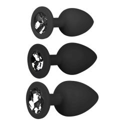 3tlg. Analplug Set mit Kristall - SML schwarz