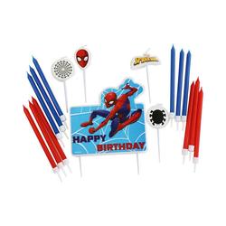 Amscan Formkerze Geburtstagskerzen Spider-Man, 17 Stück