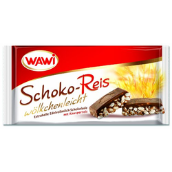 WAWI Schoko Reis Tafel in Edelvollmilch Schokolade 200g 8er Pack