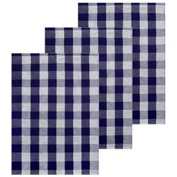 Lashuma Handtuch Set (Set, 3-tlg), Geschirrtücher Halbleinen, Küchentücher 50x70 cm blau