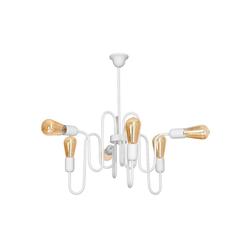 Licht-Erlebnisse Deckenleuchte MELANIE Weiße Deckenleuchte Metall retro Esstisch Wohnzimmer Lampe