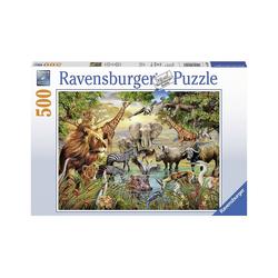 Ravensburger Puzzle Puzzle 500 Teile, 49x36 cm, Am Wasserloch, Puzzleteile