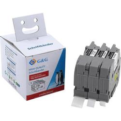 G&G Schriftband 3er Set Bandfarbe: Weiß Schriftfarbe: Schwarz 9 mm, 12 mm, 18mm 8m