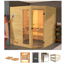weka Sauna Lars Eck 2, BxTxH: 189 x 189 x 203,5 cm, 38 mm, 7,5 kW Ofen mit ext. Steuerung