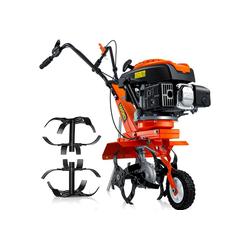 MASKO Benzinmotorhacke, Gartenhacke Benzin Gartenfräse klappbares Transportrad Selbstantrieb Leistungsstark Motorhacke Elektrische Säge Bodenfräse 4-Takt orange