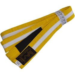 Kinder BJJ Gürtel gelb-weiß m. Bar (Größe: 220, Farbe: Gelb)