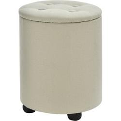 HOMCOM Sitzhocker mit Stauraum cremeweiß 30 x 40 cm (ØxH)   Aufbewahrungshocker Fußhocker Polsterhocker Hocker