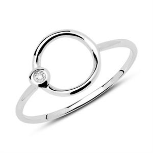 Ring Kreis aus 585er Weißgold mit Diamant