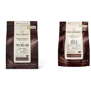 CALLEBAUT Receipe No. 70-30-38 - Kuvertüre Callets, Zartbitterschokolade, 70,5% Kakao, 2,5 kg - 1er Pack & Receipe No. 811 - Kuvertüre Callets, Zartbitterschokolade, 54,5% Kakao, 1x 2500 G