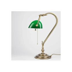 Licht-Erlebnisse Schreibtischlampe Designer Tischlampe Grün Echt-Messing Glas Premium E27 Bankerlampe Jugendstil