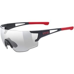 uvex Unisex – Erwachsene, sportstyle 804 V Sportbrille, selbsttönend, black mat red/smoke, one size