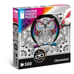 Clementoni® Puzzle Eule 3D Colour Therapy 500 Teile Puzzle, 1000 Puzzleteile bunt
