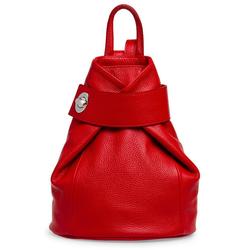 Caspar Cityrucksack TL789 eleganter Damen Rucksack aus echtem Leder rot