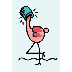 queence Leinwandbild Flamingo 60 cm x 90 cm x 2 cm