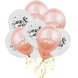 10 Luftballons Mr & Mrs für Hochzeit Feier Deko Hochzeitsdeko Hochzeitsgeschenk weiß roségold