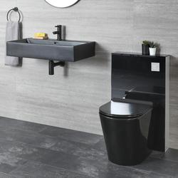 Stand WC mit Saru Sanitärmodul und Hängewaschbecken Set, Schwarz - Nox