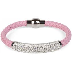 styleBREAKER Armband Flechtarmband mit Strass, Flechtarmband mit Strass rosa