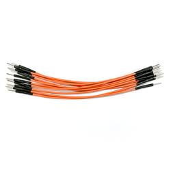 ELV hochwertiges Steckkabel Set, Stecker auf Stecker, 10 Stück, orange, 100 mm