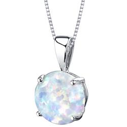 Weißer Opal im goldenen Anhänger Icy