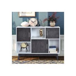Flieks Kommode (1 St), Sideboard Beistellschrank Küchenschrank Flurschrank, weiß+grau, 100*35*77cm