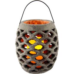 I.GE.A. Laterne »Keramik Windlicht mit LED«, Kerzenhalter, 58420748-0 grau H: 22 cm grau