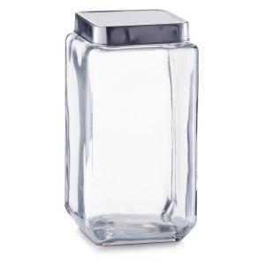 Zeller Vorratsglas mit Edelstahldeckel, Glasbehälter mit Deckel aus hochwertigem Edelstahl mit Silikonabdichtung, Fassungsvermögen: 2000 ml