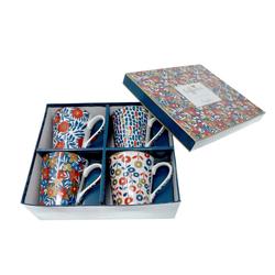 Lashuma Tasse Malerei (4-tlg), Porzellan, Porzellan Becher je 300 ml Füllmenge, Edle Kaffeetassen