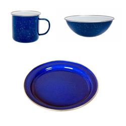 Origin Outdoors Geschirr-Set, Origin Outdoors Camping-Emaille-Geschirr-Set blau, 3-tlg.