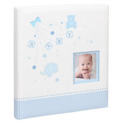 IDEAL TREND Album Baby Start Fotoalbum in 29x32 cm 60 weiße Seiten Foto Album Fotobuch blau