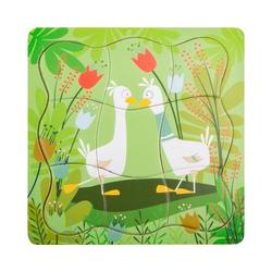 Small Foot Puzzle Schichtenpuzzle Entenpärchen, 28 Puzzleteile grün