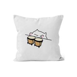 MoonWorks Dekokissen Bongo Cat Kissen-Bezug Meme Kissen-Hülle Deko-Kissen MoonWorks® weiß