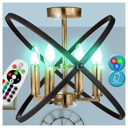 etc-shop Kronleuchter, Kronleuchter Decken Lampe bronze FERNBEDIENUNG Ring Leuchte dimmbar im Set inkl. RGB LED Leuchtmittel