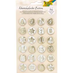 Adventskalender-Buttons, weiß - weiß