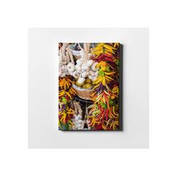 DesFoli Leinwandbild Gewürze Markt Chili Knoblauch LH0713 50 cm x 70 cm