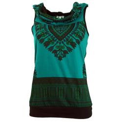 Guru-Shop T-Shirt Kapuzen Dashiki Tank Top, Goa Festivaltop -.. grün M/L (38/40)