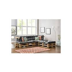 en.casa Palettenkissen, Tasartico Palettensofa 3-Sitzer Palettenmöbel inkl. Kissen Lehnen und 6 Paletten hellgrau grau