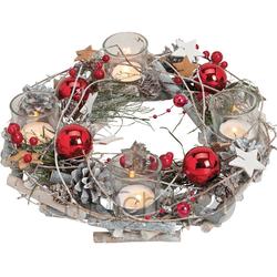 matches21 HOME & HOBBY Adventskranz Holz Adventskranz mit Kerzengläsern & roter weihnachtlichen Deko