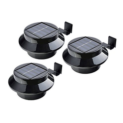 IC Gardenstyle Dachrinnenleuchten 3er Set Solar Dachrinnenleuchte, Solarleuchte für die Dachrinne & Zäune, inkl. Befestigungsmaterial, schwarz, warm-weißes LED Licht, Tageslicht-Sensor