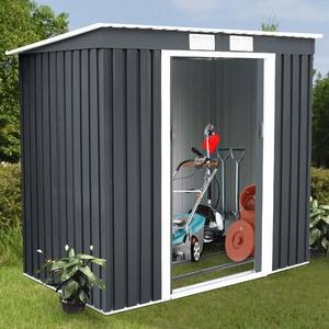 Metall Gerätehaus Gartenhaus Geräteschuppen Schuppen mit Fundament Pultdach