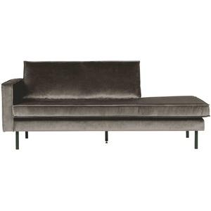 Sofa Recamiere in Taupe Samtbezug