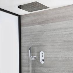 Duschsystem mit Thermostat, 50cm x 50cm Unterputz-Duschkopf und Handbrauseset – Chrom – Idro, von Hudson Reed