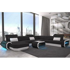 Couch Wohnlandschaft Polster Sofa ROMA XXL Strukturstoff Schwarz Stoffsofa LED