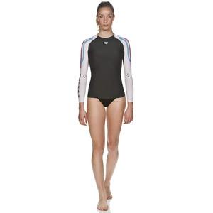 arena Damen Schwimm Kompressionsshirt Carbon Langarm (Atmungsaktiv, Carbon-Material, Durchblutungsfördernd), Dark Grey-White (53), XXS