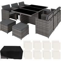 Tectake Aluminium Rattan Sitzgruppe New York 6+4+1 mit Schutzhülle - Gartenlounge, Terrassenmöbel,