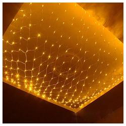 TOPMELON Lichterkette, LED Net Mesh Lichterkette, Wasserdicht, 4 Größen,Weihnachtsdekoration gelb 4 cm x 6 m