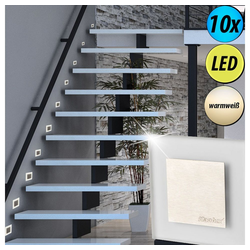etc-shop LED Einbaustrahler, 10er Set LED Wand Strahler Treppen Haus Stufen Beleuchtung Wohn Zimmer Decken Einbau Spot Lampen