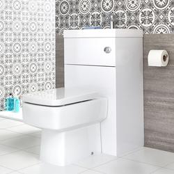 Eckige Toilette mit Spülkasten und integriertem Waschbecken, von Hudson Reed