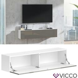 VICCO Lowboard JUSTUS Weiß Grau hochglanz - Fernsehschrank 140cm TV Fernsehtisch
